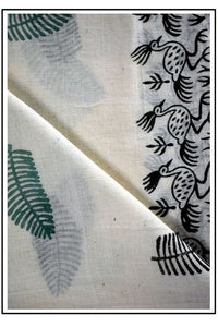 Pure White Saree With Wooden Hand Block Print