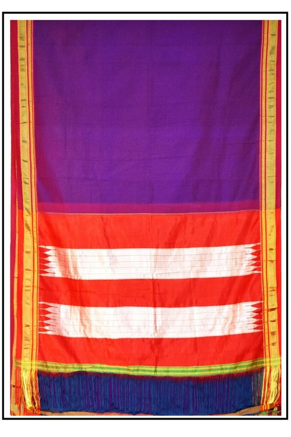 Pure Cotton Handloom Saree With Silk Pallu
