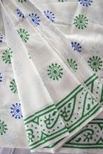 Load image into Gallery viewer, Pure White Saree With Wooden Hand Block Print