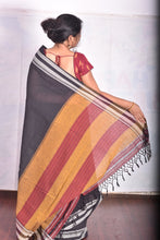 Load image into Gallery viewer, Pure Cotton Black Handloom Saree With Gayatri border