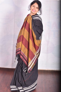 Pure Cotton Black Handloom Saree With Gayatri border