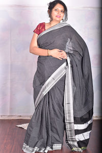 Pure Cotton Black Handloom Saree With Silk Pallu