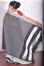 Load image into Gallery viewer, Pure Cotton Black Handloom Saree With Silk Pallu