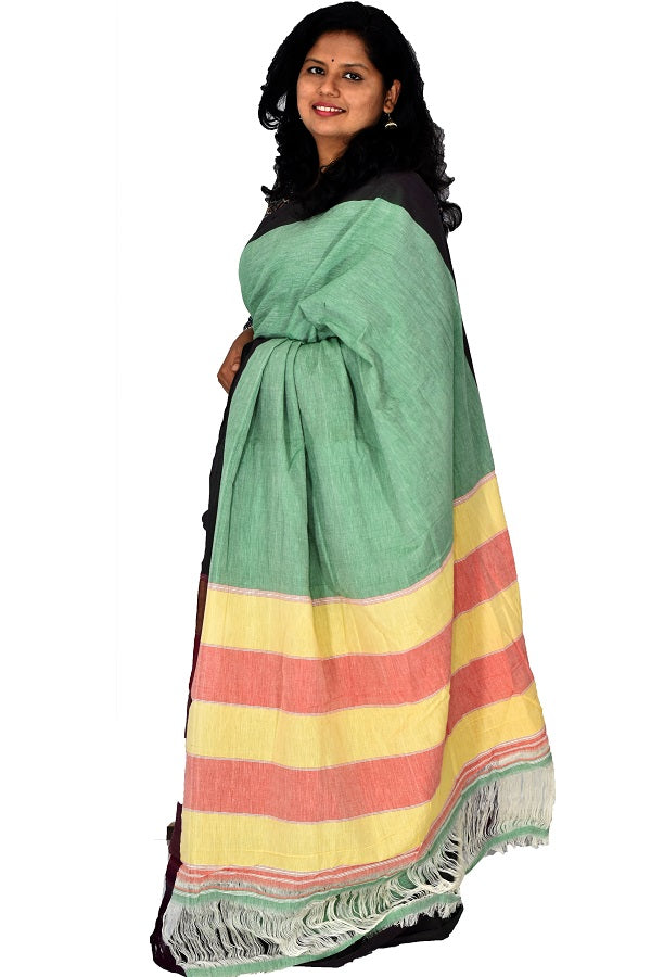 Pure Cotton Green Handloom Saree With Patted Anchu