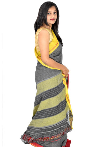Pure Cotton Grey Handloom Saree With Patted Anchu