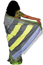 Load image into Gallery viewer, Pure Cotton Grey and Green Handloom Saree With Patted Anchu