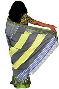 Pure Cotton Grey and Green Handloom Saree With Patted Anchu