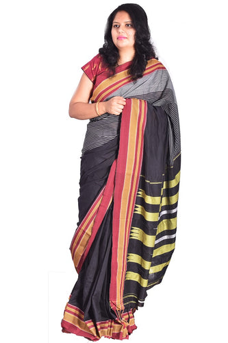 Pure Cotton Black Handloom Saree With Patted Anchu