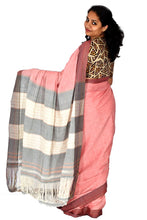 Load image into Gallery viewer, Pure Cotton Pink Handloom Saree With Patted Anchu