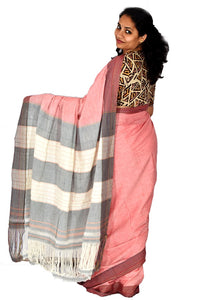 Pure Cotton Pink Handloom Saree With Patted Anchu