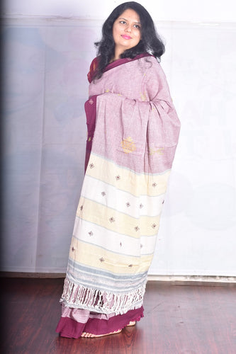 Pure Cotton Pink Handloom Saree With Thread Work
