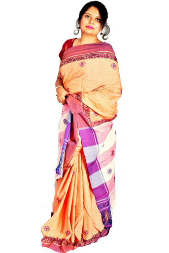 Pure Cotton Saffron Handloom Saree With Thread Work