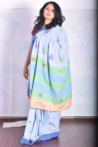 Pure Cotton Sky Blue Handloom Saree With Thread Work