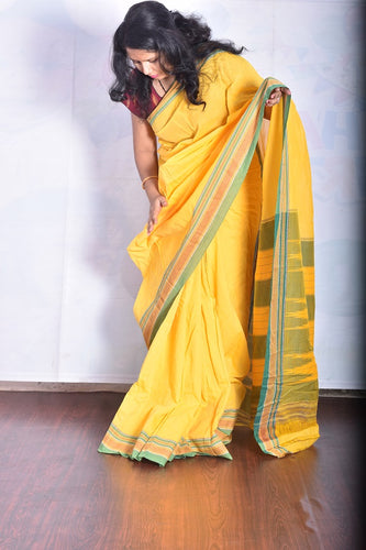 Pure Cotton Yellow Handloom Saree With Patted Anchu