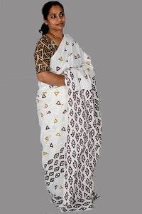 Pure White Cotton Handloom Saree