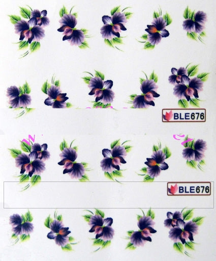 Stickers all'acqua RN141 - orchidee viola