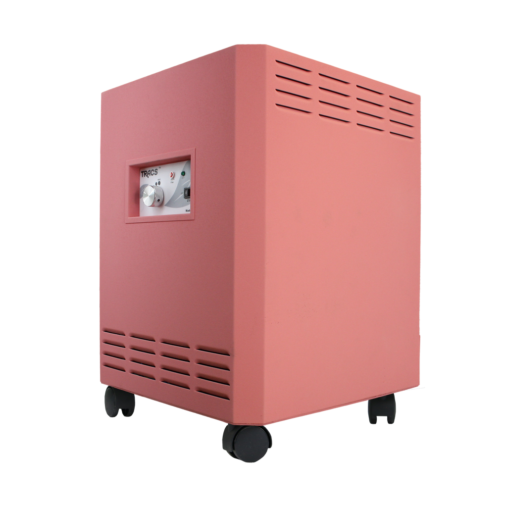 photo of a pink tracs air purifier with uvc and hepa technology