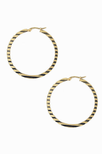 Gold Flat Ridge Hoop Earrings