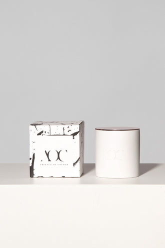 White Concrete Candle with Lid