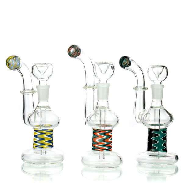 "7"" Fancy Sticker Design Bubbler with 14mm Male Bowl Approx 150 Grams"