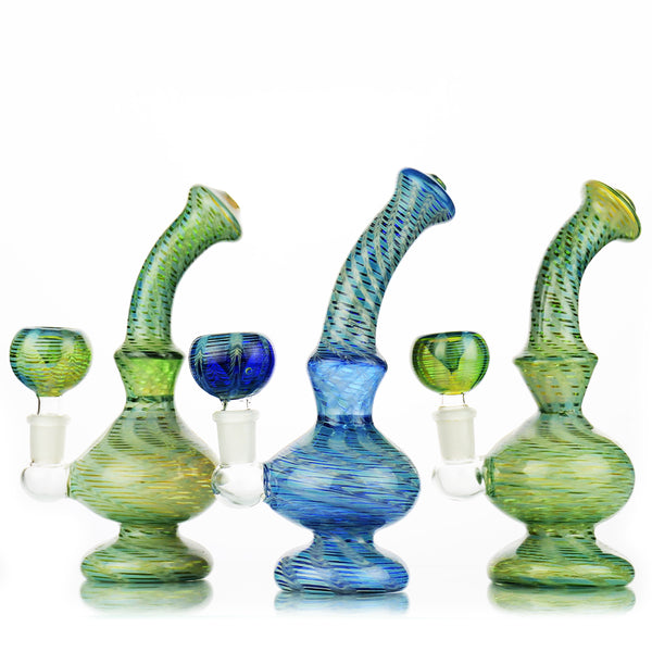 "7"" Bong Zig Zag Marble Design 14mm Male Bowl Included Approx 200 Grams"