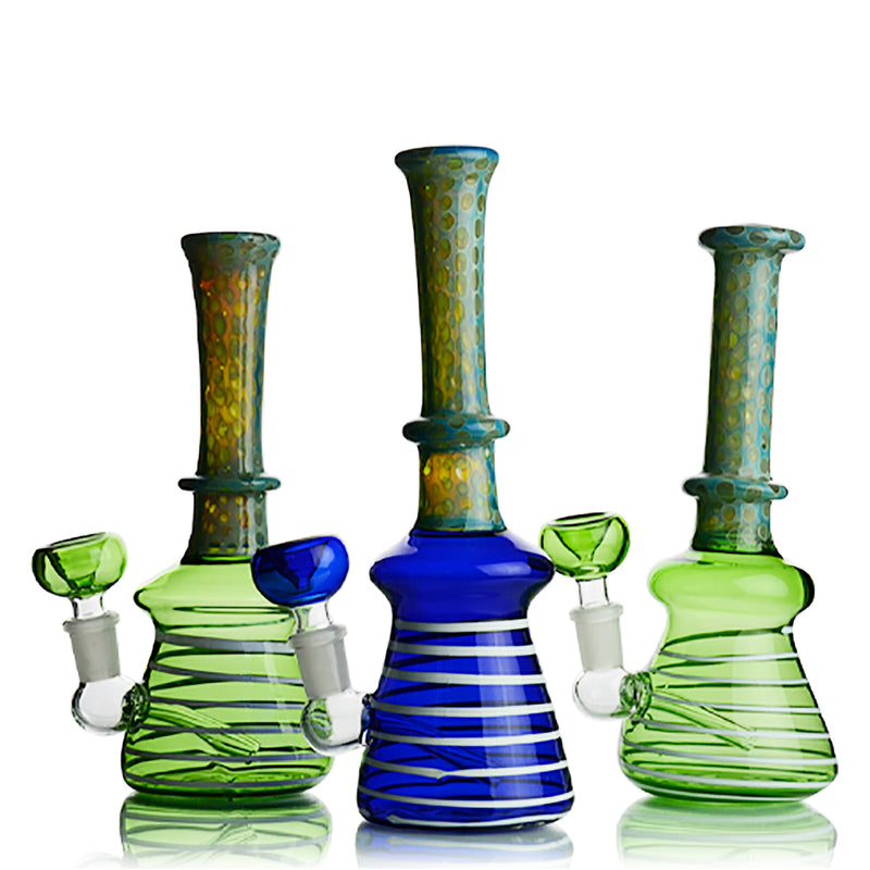 "9"" Bong Color Tube Glass with Honeycomb Design Neck 14mm Male Bowl Included Approx 190 Grams"
