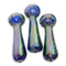 "4.5"" Hand Pipe Double Glass Fume with Lines Design Approx 135 Grams"
