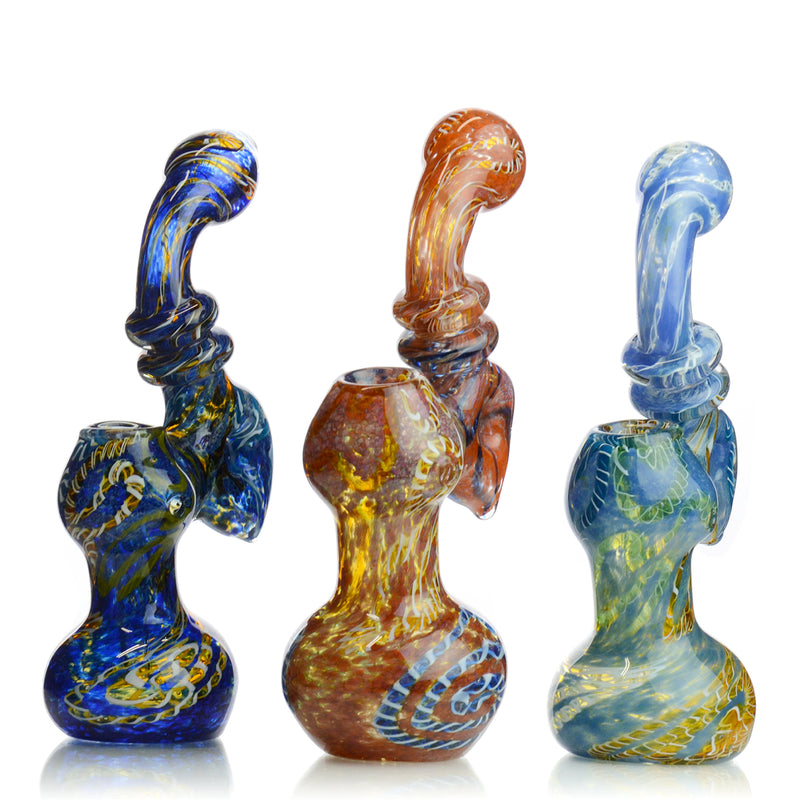 "8"" Bubbler Heavy Color Twisting with Frit and Donut Neck Design Approx 235 Grams"