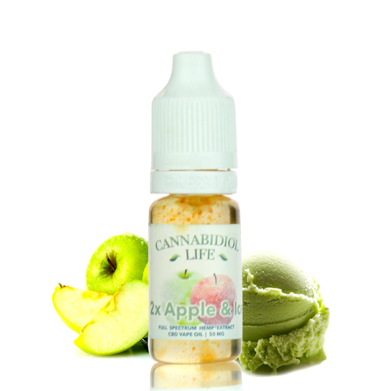 2x Apple & Ice CBD Vape Juice 50mg / 10ml Cannabidiol Life