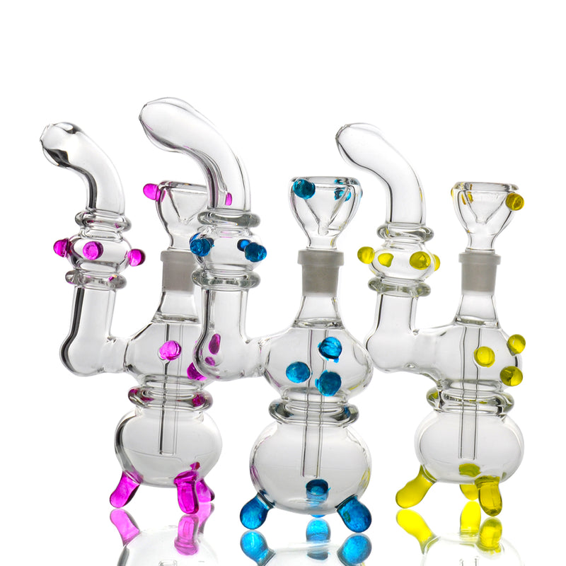 "7"" Bubbler Clear Glass with 14mm Male Bowl Approx 190 Grams"