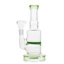 "7"" Water Pipe Straight Neck Green Honeycomb 14mm Male Bowl Included Approx 270 Grams"