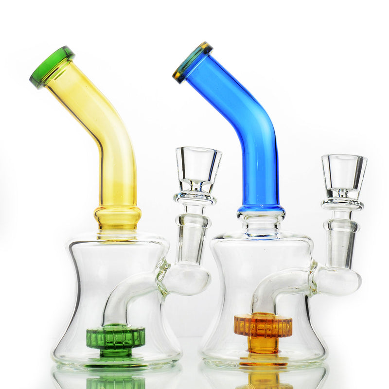 "7"" Water Pipe Metrix Shower Colored Bent Neck 14mm Male Bowl Included  Approx 200 Grams"