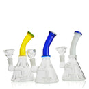 7' Water Pipe with Shower Color Bent Neck 14mm Male Bowl Included Approx 150 Grams