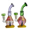 "9"" Bong Frit Color Base Fume Body Color Tube Bent Neck with Horn 14mm Male Bowl Included Approx 230 Grams"