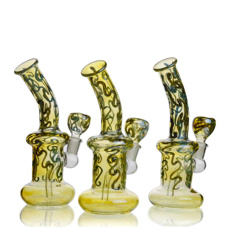 "8"" Fumed Body Twisting Designs 14mm Male Bowl Included Approx 230 Grams"