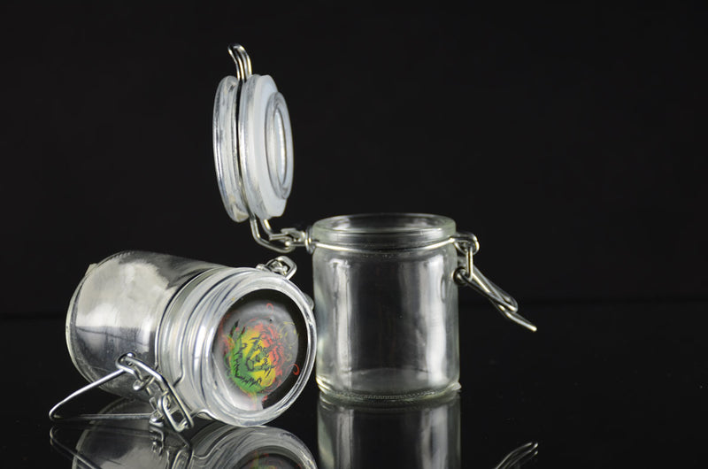 Small size Clear Glass Jar with wire lid