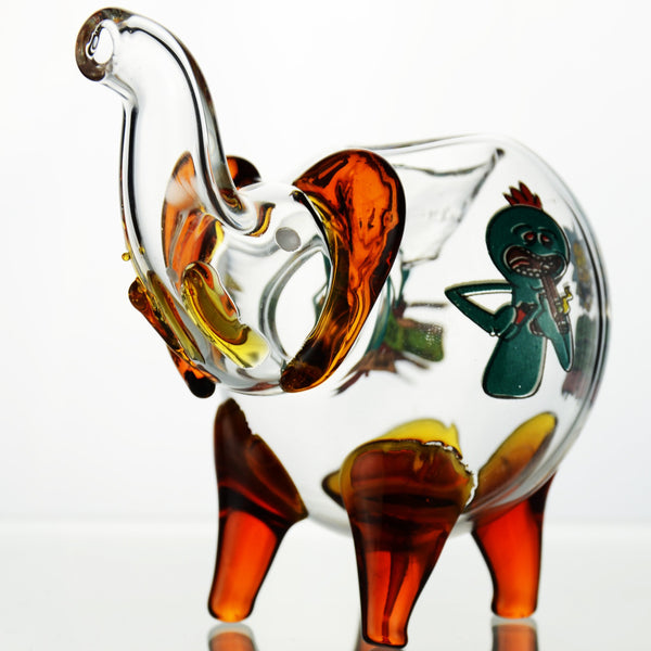 "4"" Elephant hand pipe R & M clear body design"