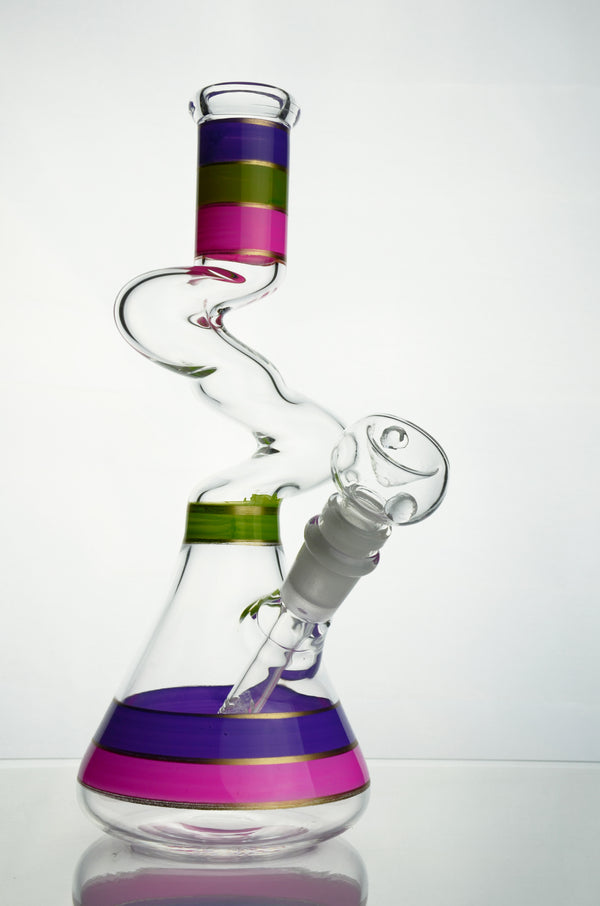 Glass Beaker Bong Light Purple with Honeycomb Recycler Water Pipe Bottle Bongs