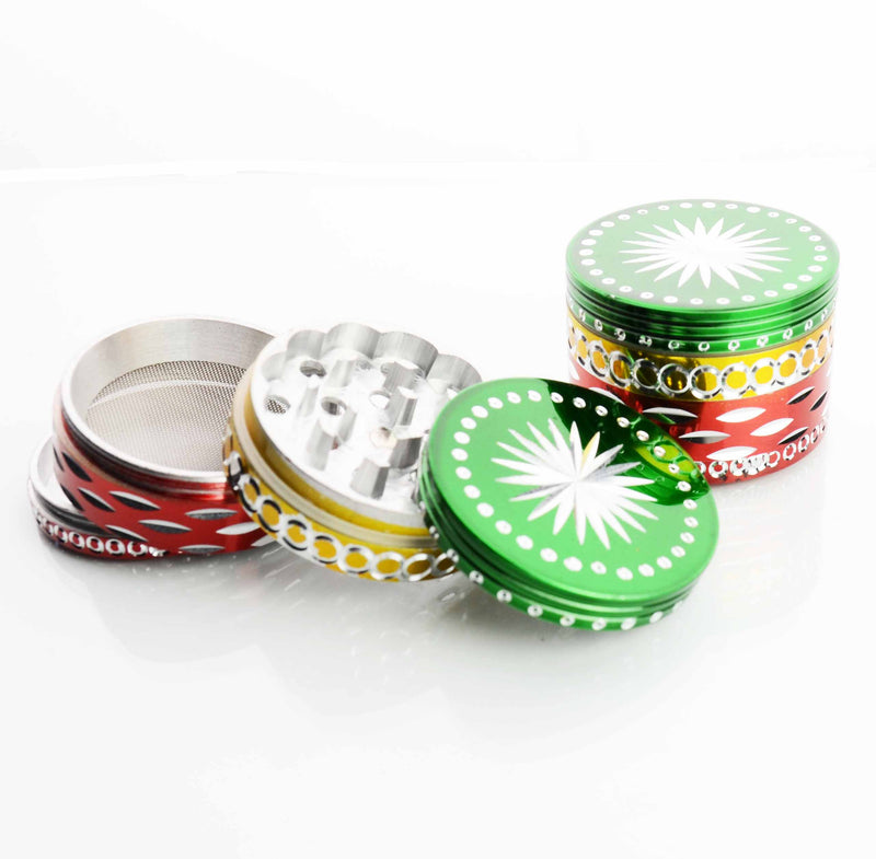 62MM  Metal Rasta Colored Grinder Diamond Cut