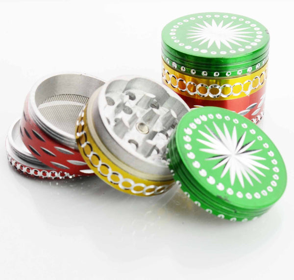 50MM  Metal Rasta Colored Grinder Diamond Cut