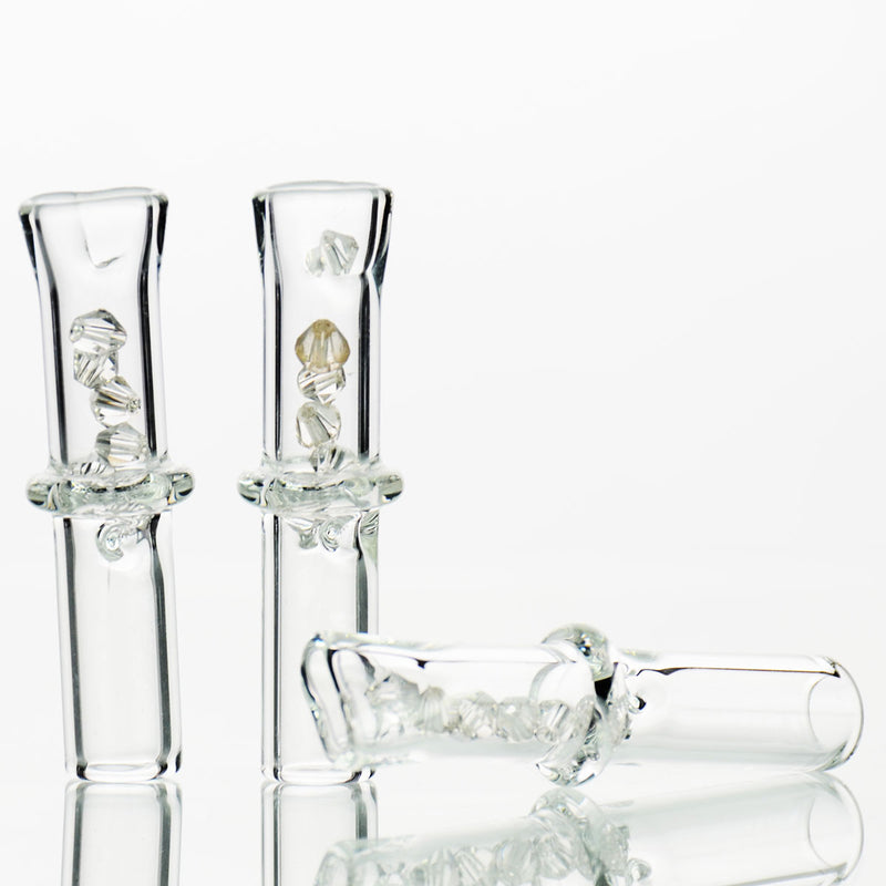 "2"" 10mm Glass Tips Thin Pressed Mouth with Clear Crystals for Joints"