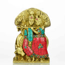 "7"" Pure Brass Lord Krisha & Radha Statue Golden Sculpture with Color Mudra  1.15  lb Weight"