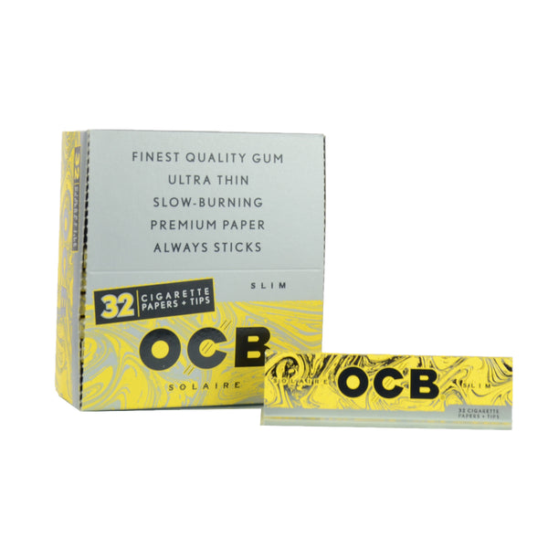 OCB Solaire Rolling Paper with Tips King Size 32 Cigarette Papers 24 Pack per box