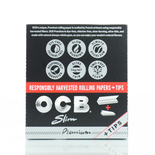 OCB Premium Rolling Paper with Tips King Size 32 Cigarette Papers 24 Pack per box