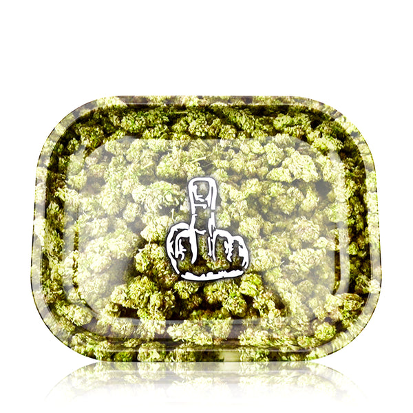 Rolling Tray Middle Finger Weed Flower Print