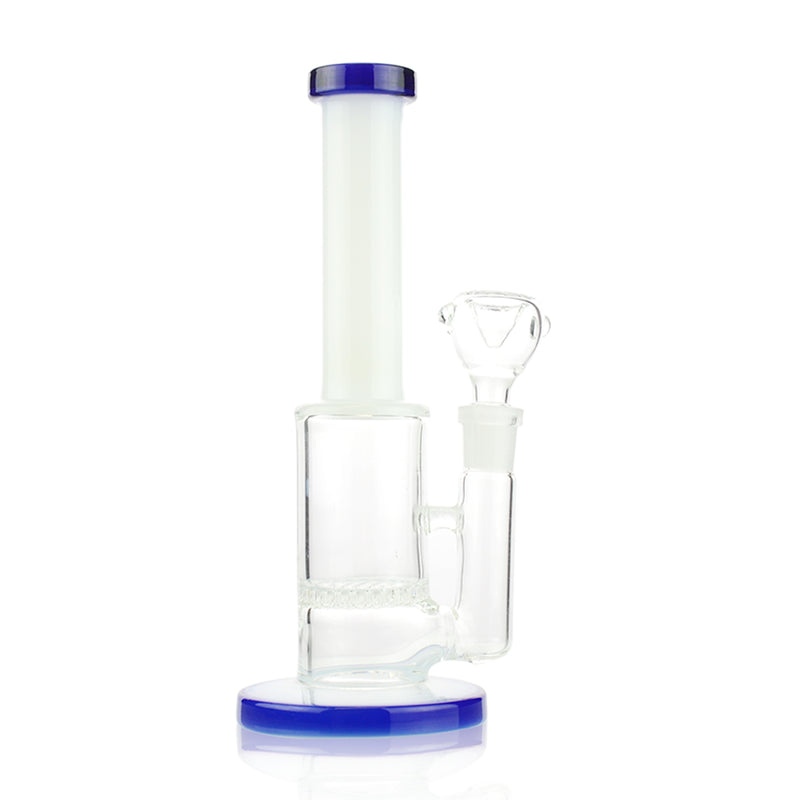"7"" Bong White Tube with Honeycomb 14mm Male Bowl"