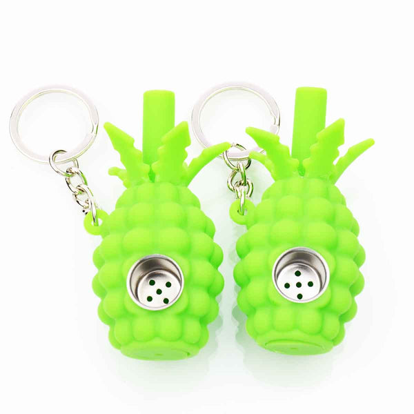 Small Green silicone Pineapple Key Chain Hand Pipe