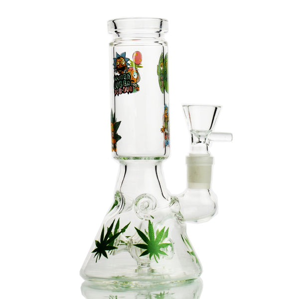 "8"" Conical Bong with Weeg Stickers and Multi Perc 14mm Male Bowl Included"