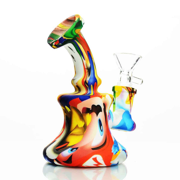 "5"" Silicone Bong with Colorful Prints"