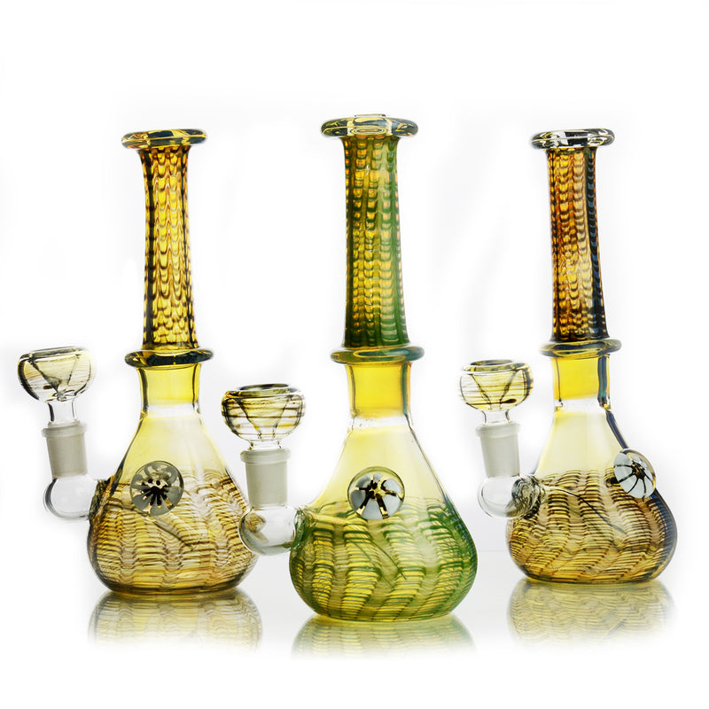 "8"" Fancy Fume Beaker with Locket 14mm Male Bowl Included Approx 200 Grams"